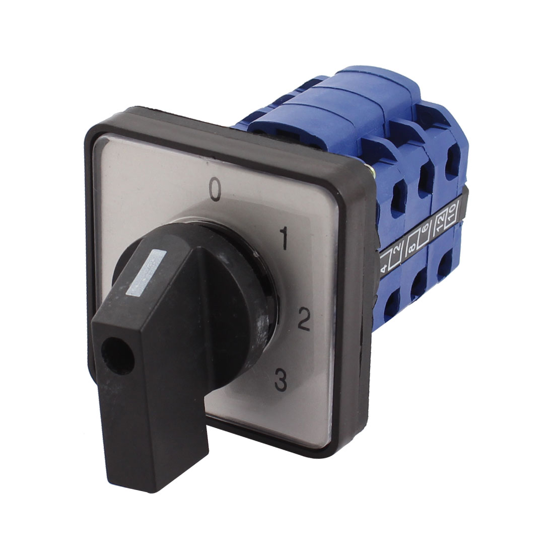 Square Plastic Panel Mount 4-Position 3-Phase 12 Screw Terminals Universal Rotary Cam Select Changeover Switch
