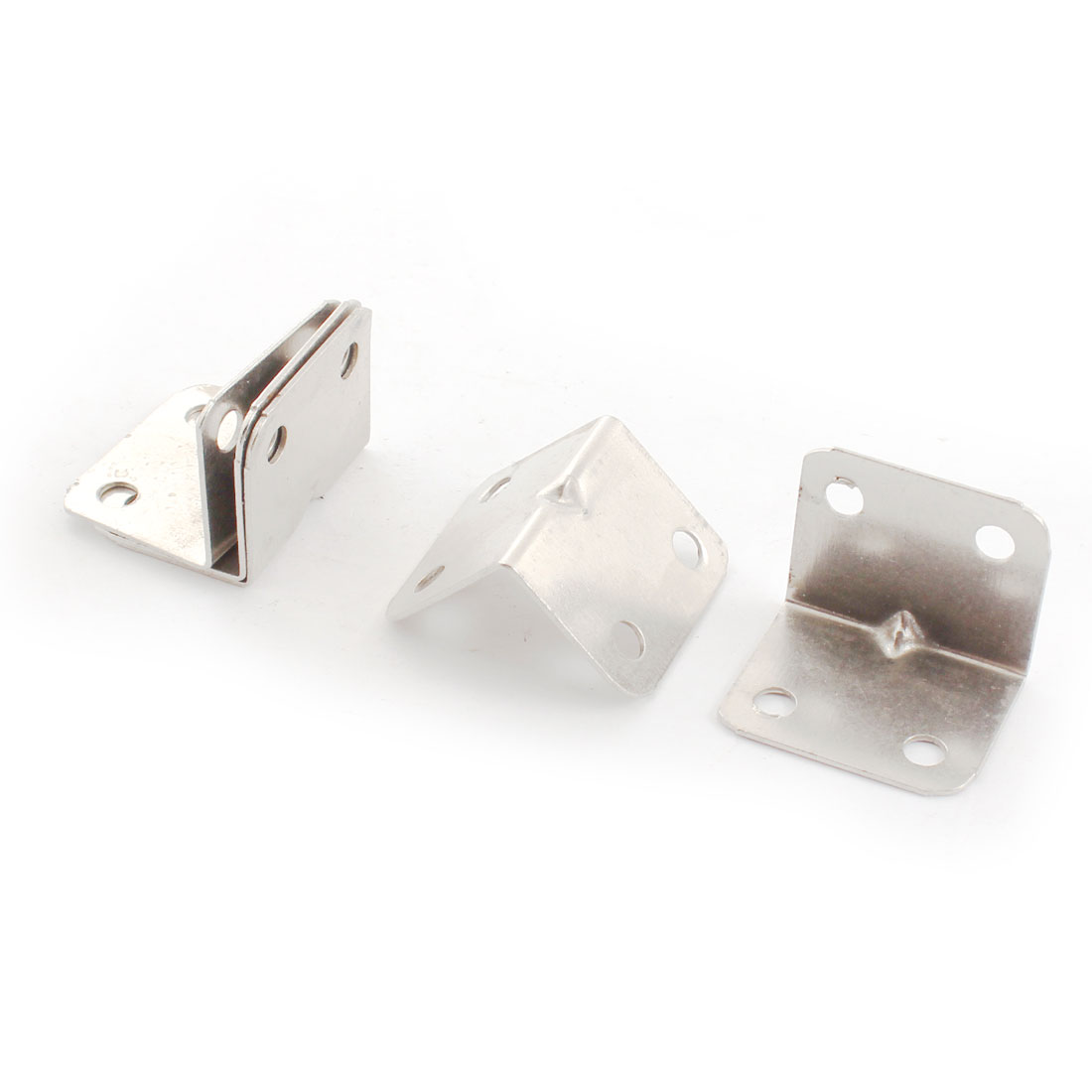 5Pcs 25mm x 25mm x 32mm Silver Tone Metal Corner Brace Joint Right Angle Bracket Shelf Support 6mm Hole