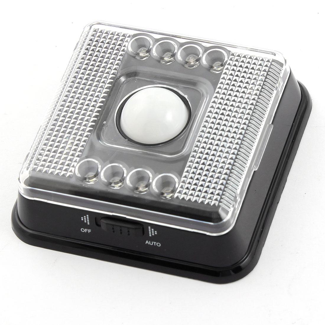 Black Plastic Shell Square Motion Sensor Auto PIR 8 White LED Light