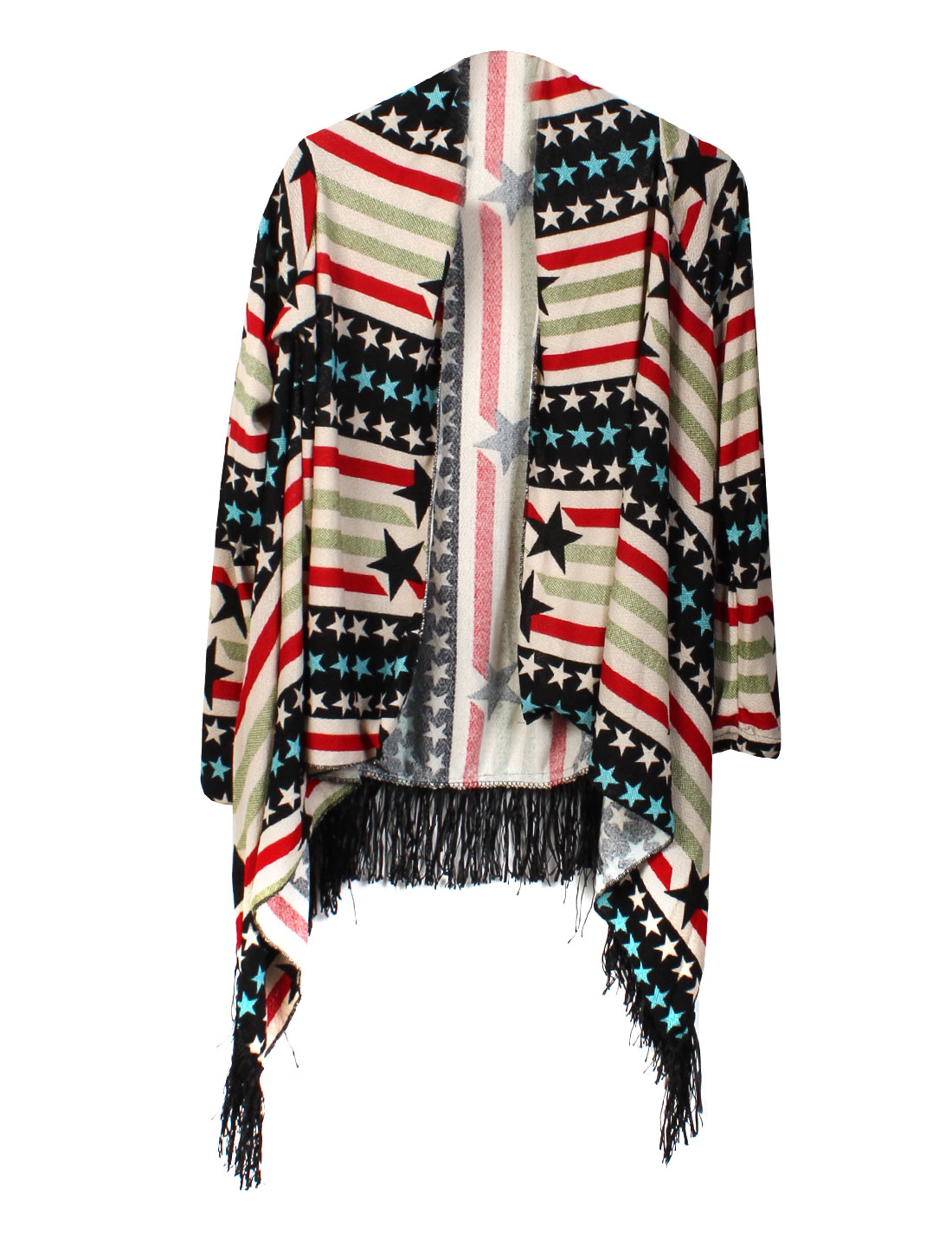 Women Stars Stripes Tassels Hem Open Front Cardigan Multicolor XS