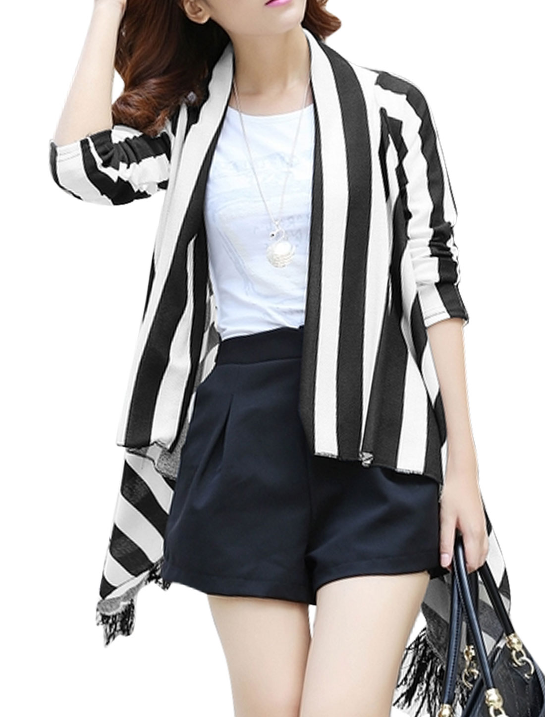 Women Shawl Collar Vertical Stripes Leisure Cardigan Black White XS