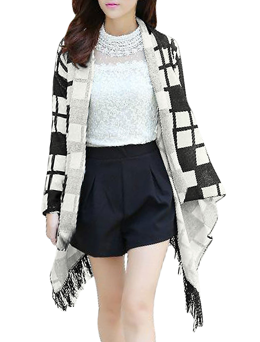 Shawl Collar Checkered Pattern Leisure Cardigan for Women Black XS