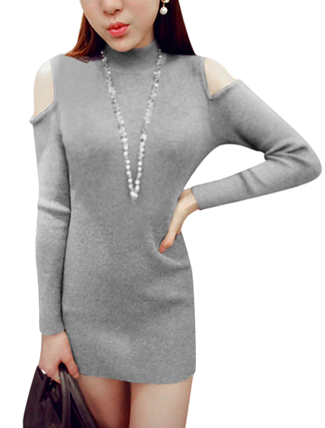 Woman Cut Out Shoulder Long Sleeves Gray Knit Sheath Dress S
