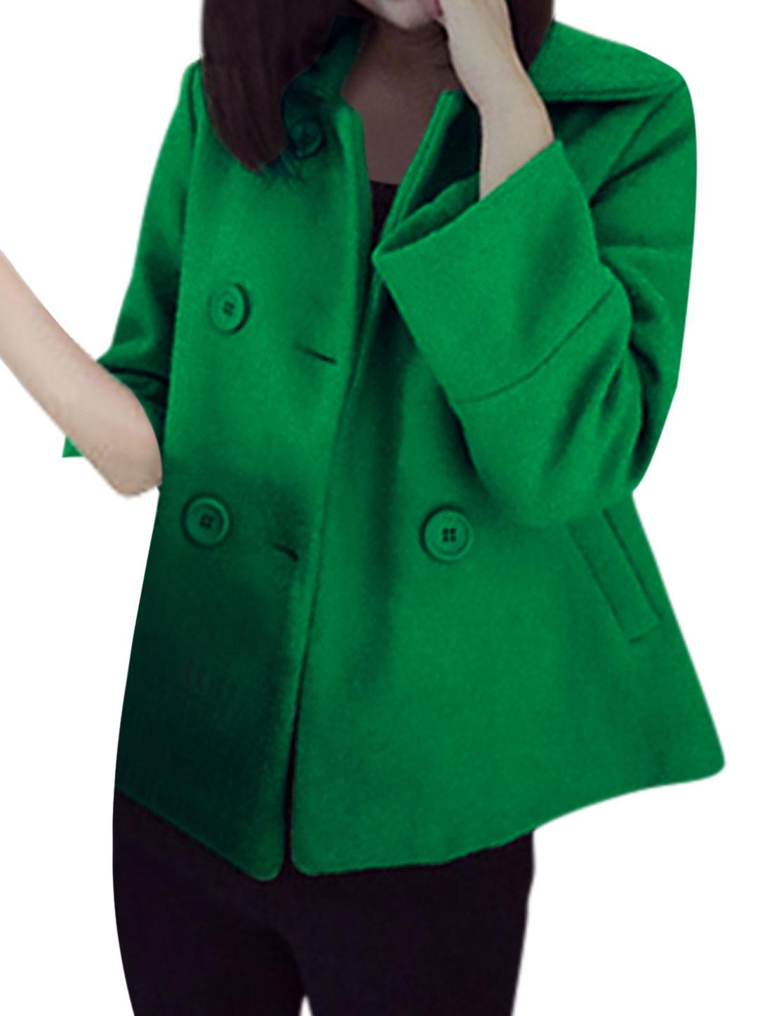 Women Turn Down Collar Bracelet Sleeve Worsted Coat Dark Green S