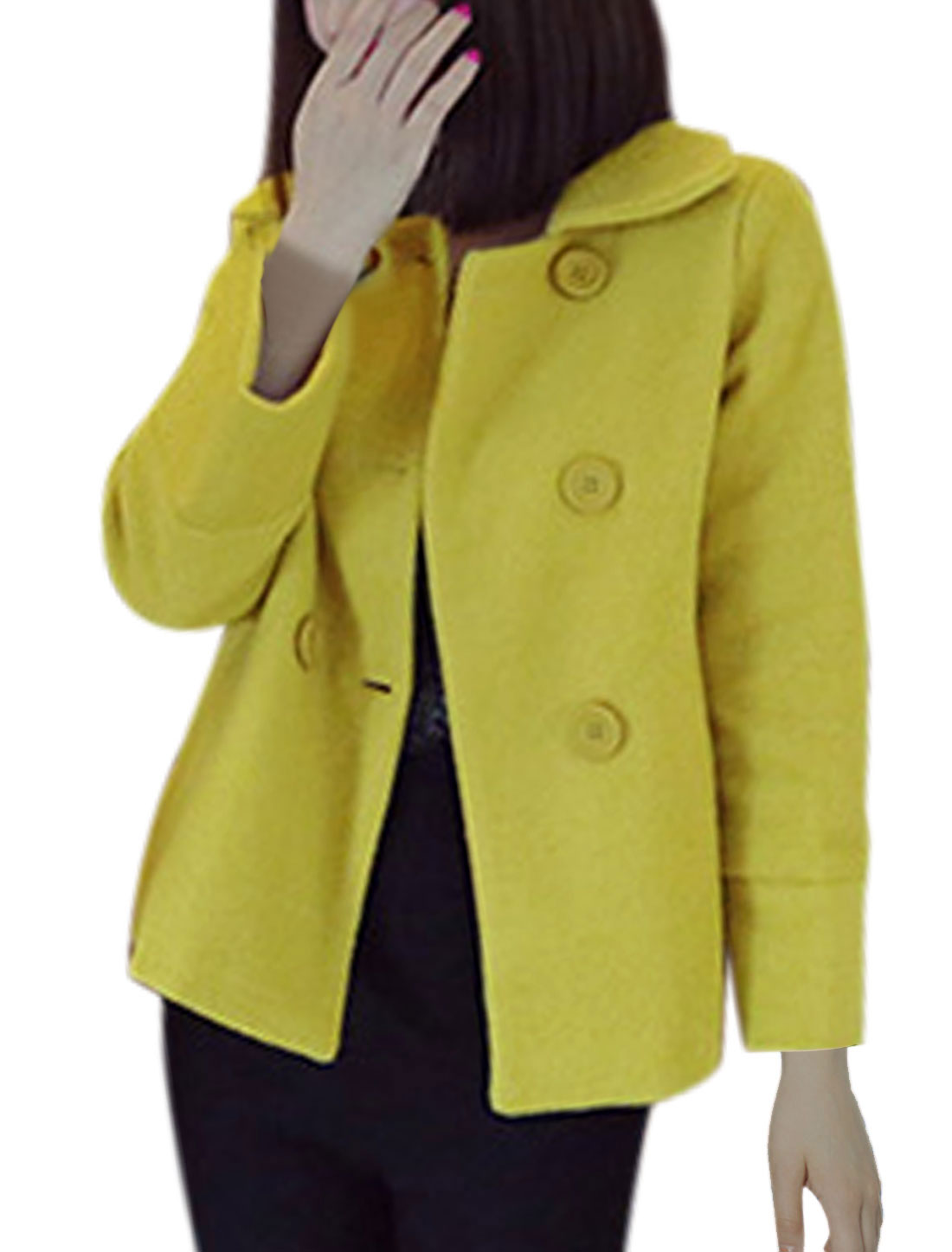 Ladies Bracelet Sleeve Button Decor Chic Lime Worsted Coat S