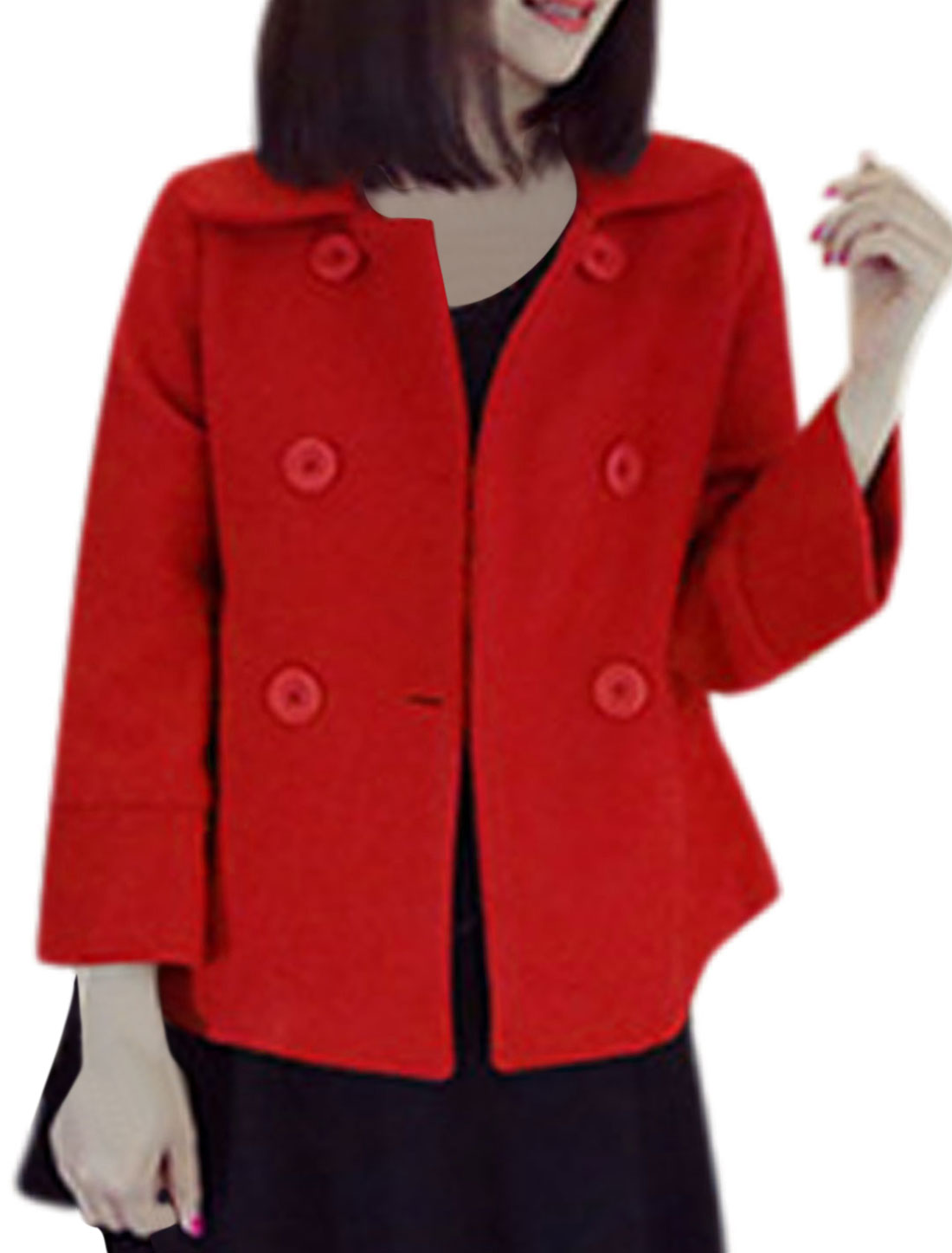 Single Breasted Turn Down Collar Red Worsted Coat for Ladies S