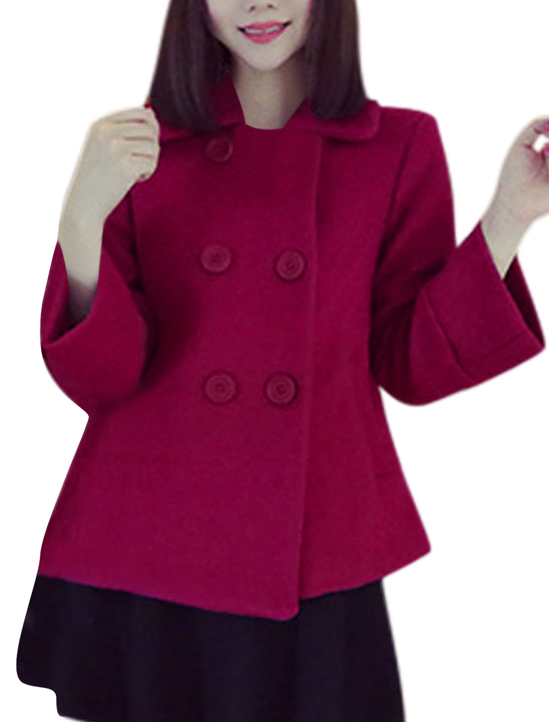 Bracelet Sleeve Three Button Up Fuchsia Worsted Coat for Women S