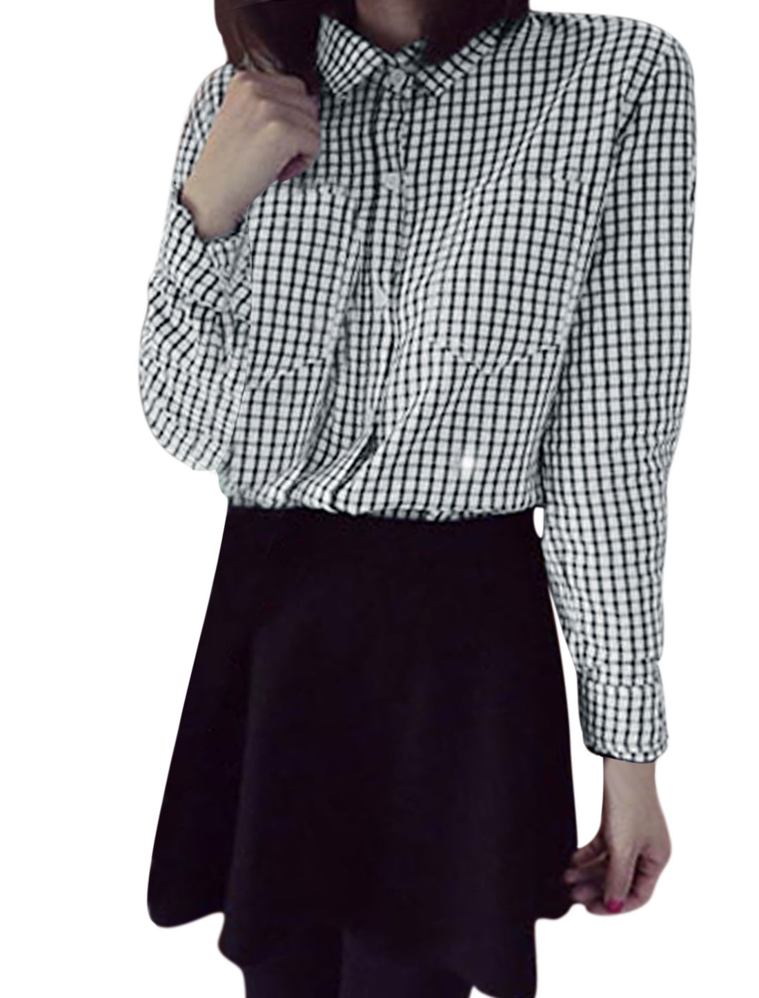 Ladies Black White Plaids Prints Button Closure Bust Pockets Fashion Blouse XS