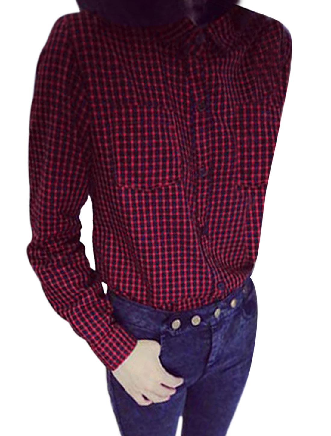 Ladies Burgundy Plaids Prints Button Closure Bust Pockets Casual Blouse XS