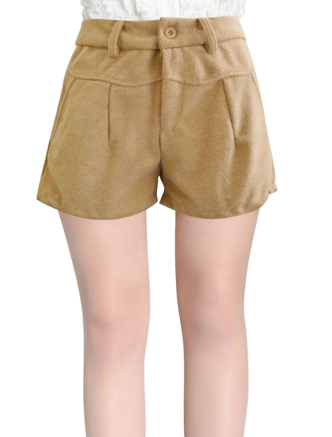 Ladies Khaki Mid Rise Button Closure Zip Fly Belt Loop Short Pants S
