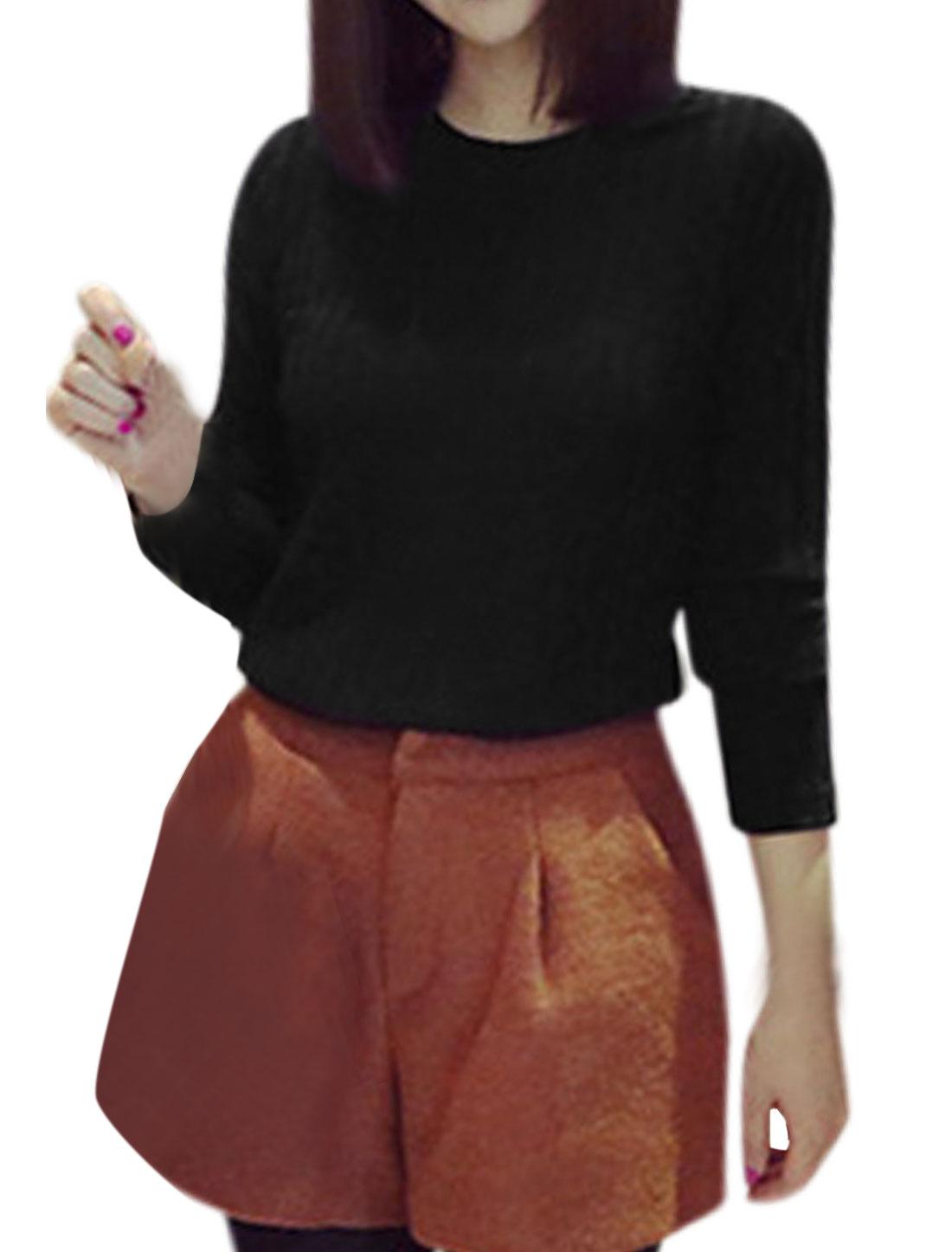 Lady Round Neck Textured Deisgn Slim Fit Knit Shirt Black XS