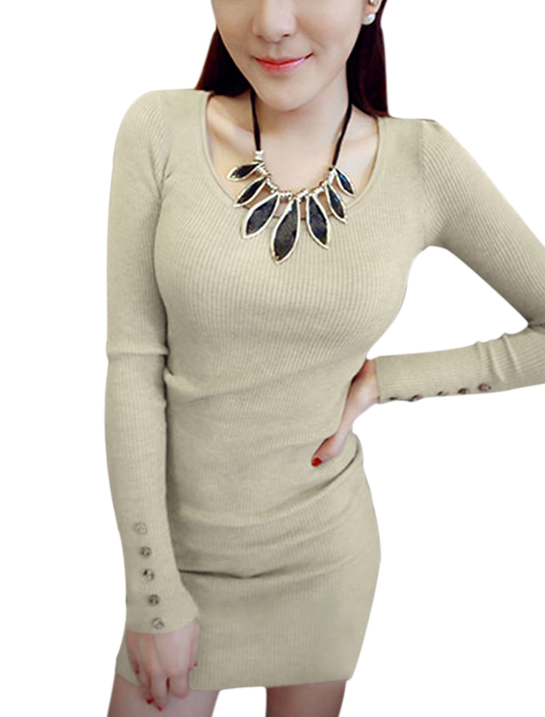 Round Neck Long Sleeves Pullover Sexy Knit Sheath Dress for Women Khaki S