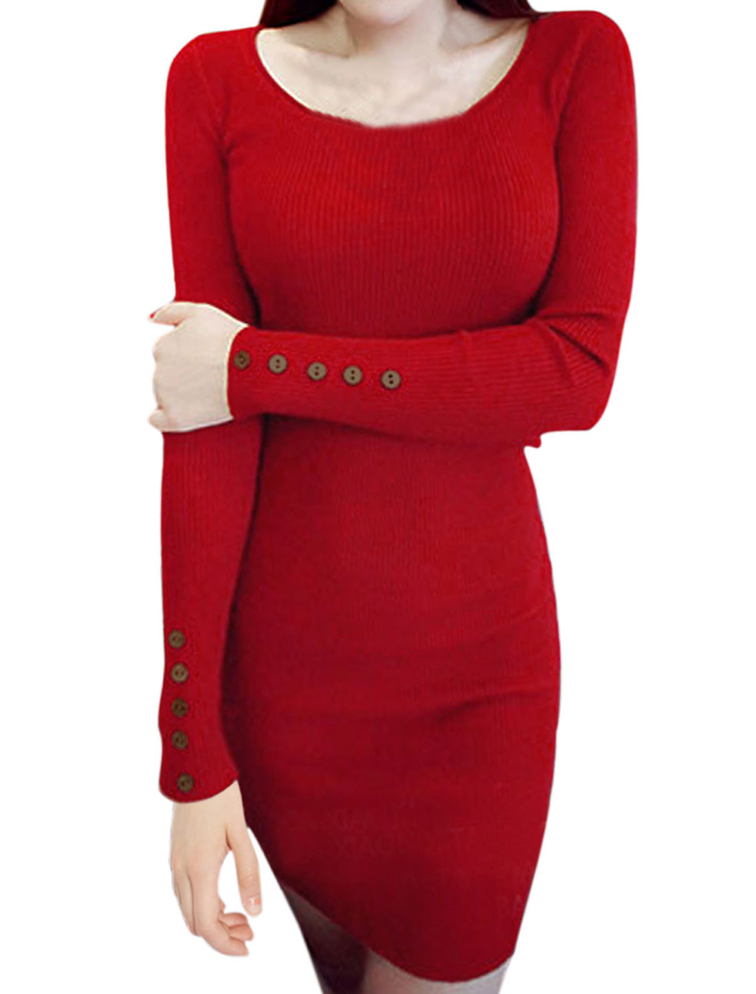 Ladies Long Sleeves Button Decor Casual Knit Sheath Dress Red S