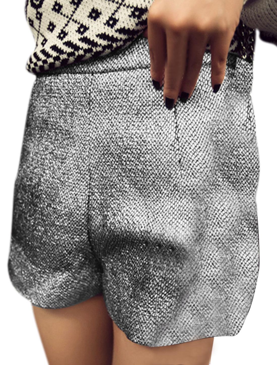 Women Shinny Snakeskin Pattern Natural Waist Shorts Silver Tone S
