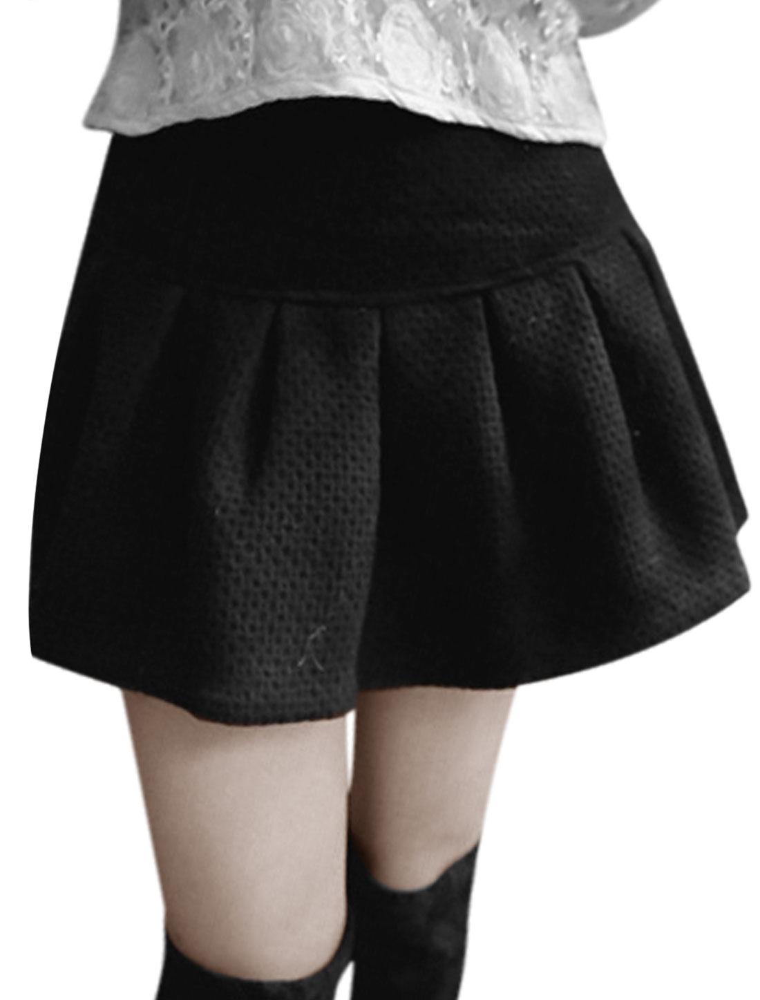 Women Zip Closed Back Unlined Design Mini Full Skirt Black M