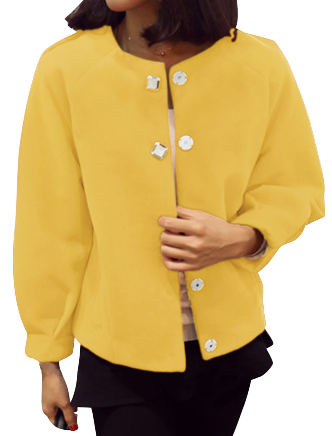 Round Neck Raglan Sleeves NEW Worsted Coat for Women Yellow XS