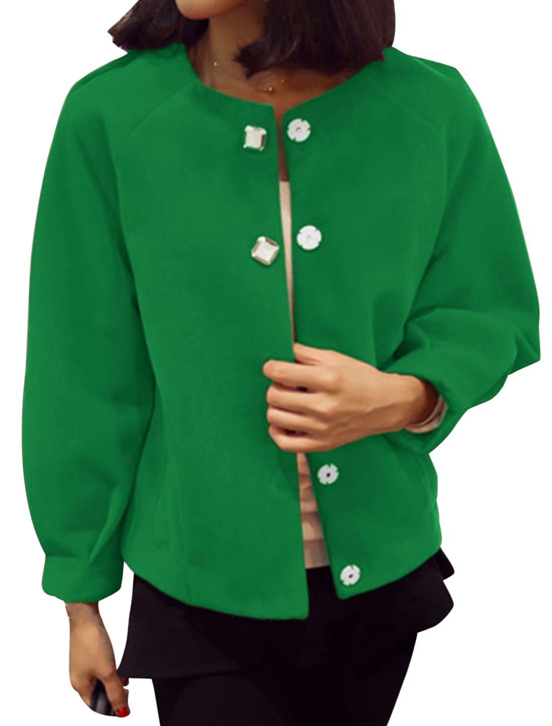 Round Neck Hidden Button Down Leisure Worsted Coat for Women Green XS