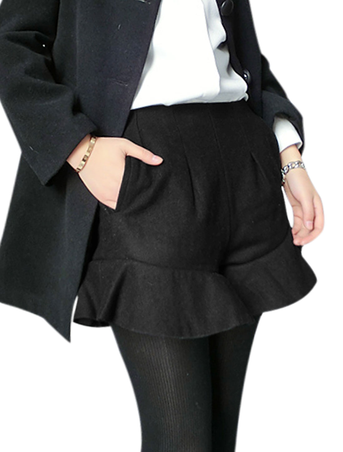 Lady High Waist Zip Up Side Flouncing Hem Worsted Shorts Black S