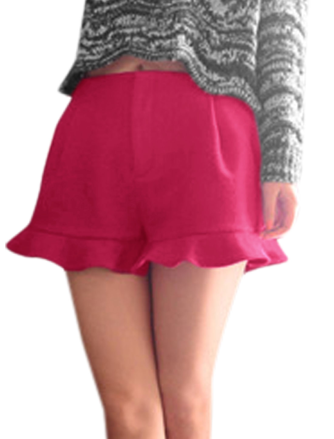 Ladies Zip Closed Double Slant Pocket Fuchsia Worsted Shorts XS