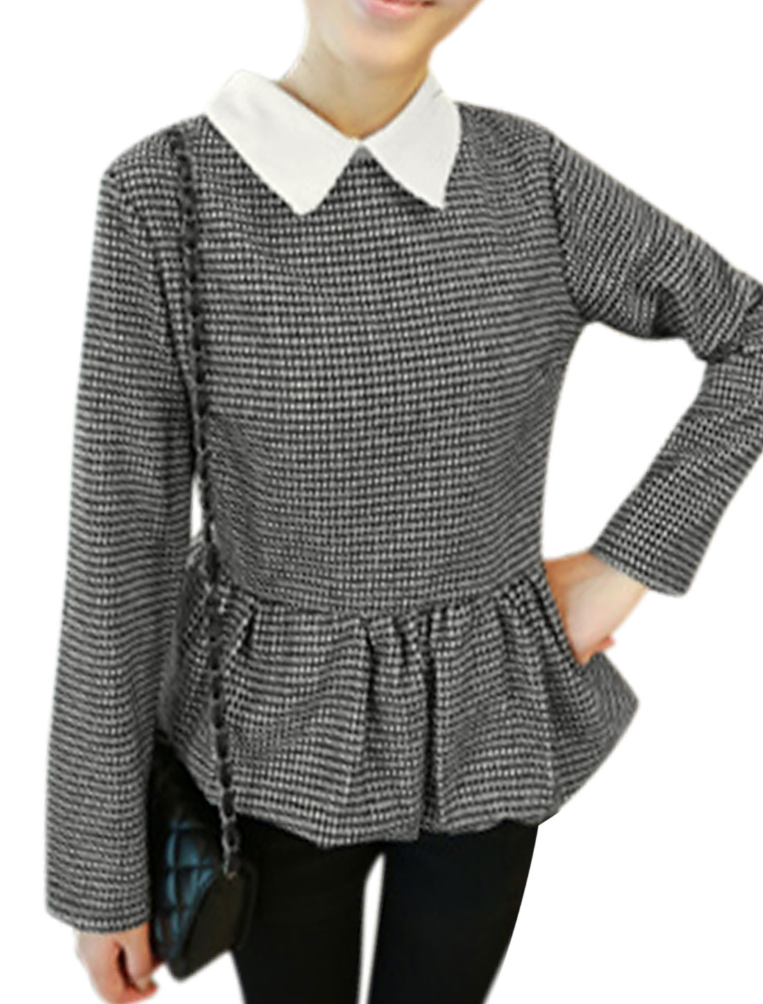 Women Turn Down Collar Houndstooth Pattern Casual Top Black White XS