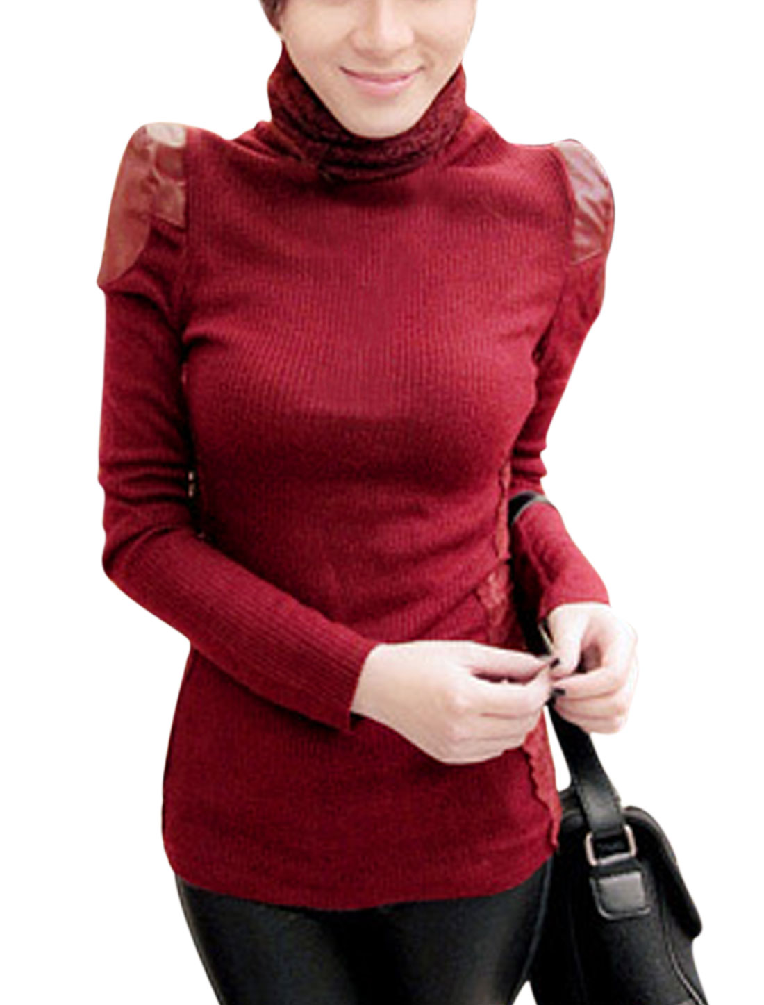 Slim Fit Lace Panel Sides Burgundy Knit Shirt for Women M