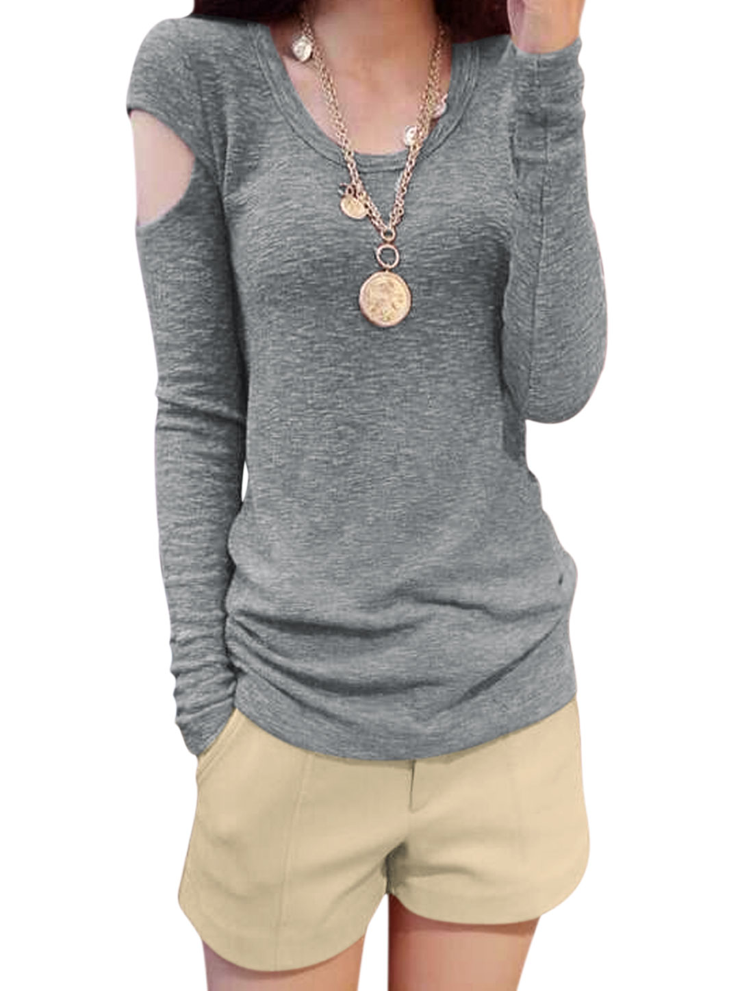 Women Round Neck Cut Out Heather Gray Sleeves Top w Natural Waist Khaki Shorts M