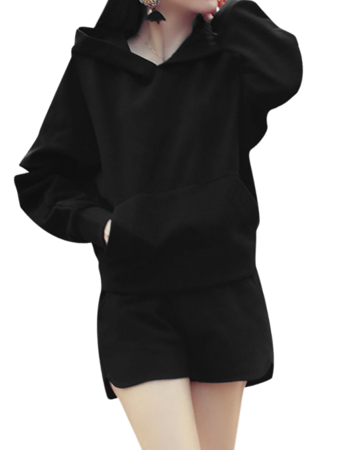 Women Long Batwing Hooded Top w Elastic Waist Shorts Sets Black XS