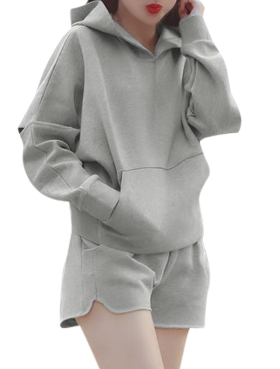 Lady Kangaroo Pocket Pullover Hooded Top w Casual Shorts Sets Light Gray XS