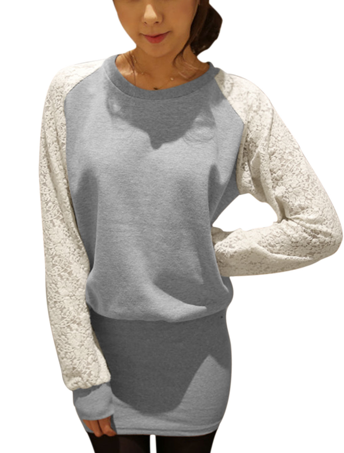 Womwn Gray Lace Splice Raglan Sleeve Unlined Blouson Dress XS
