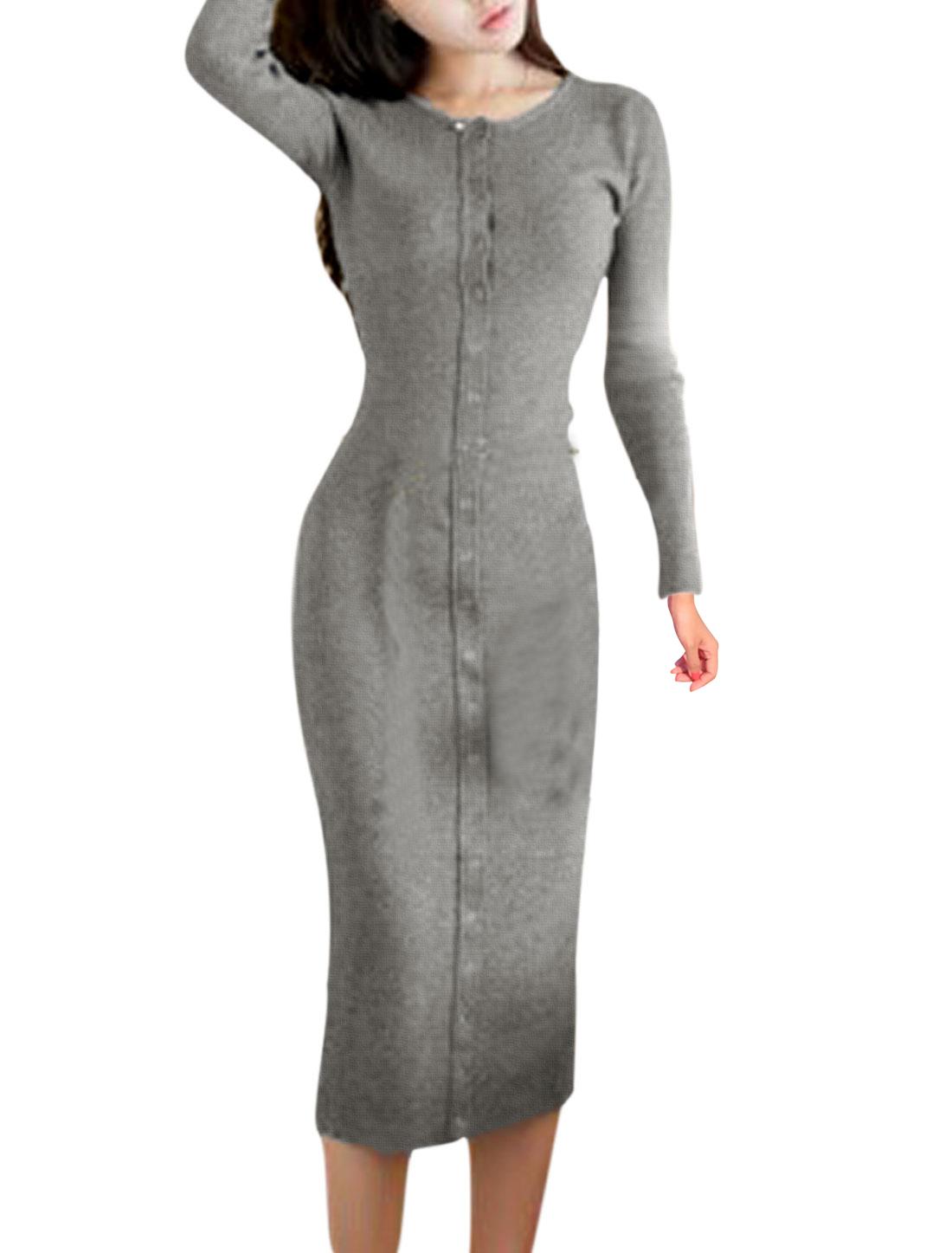 Women Metal Eyelet Decor Long Sleeve Sheath Dress Dark Gray S