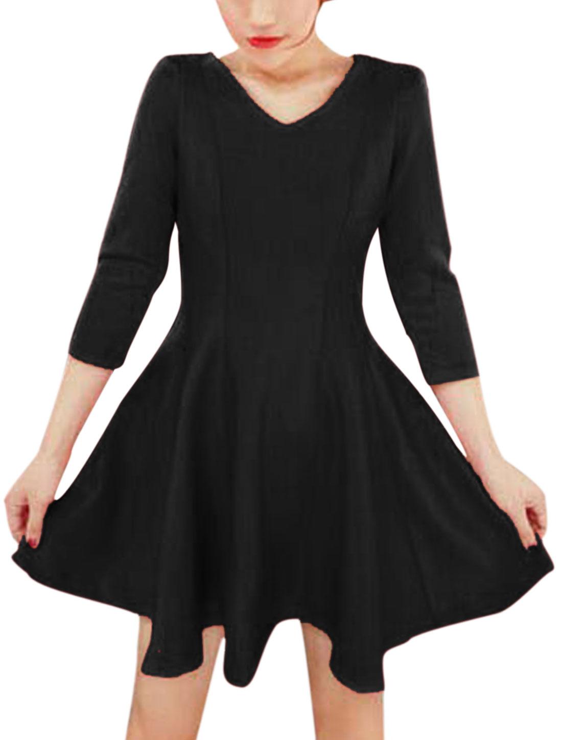 Women 3/4 Sleeves Round Neck Pullover NEW Skater Dress Black S