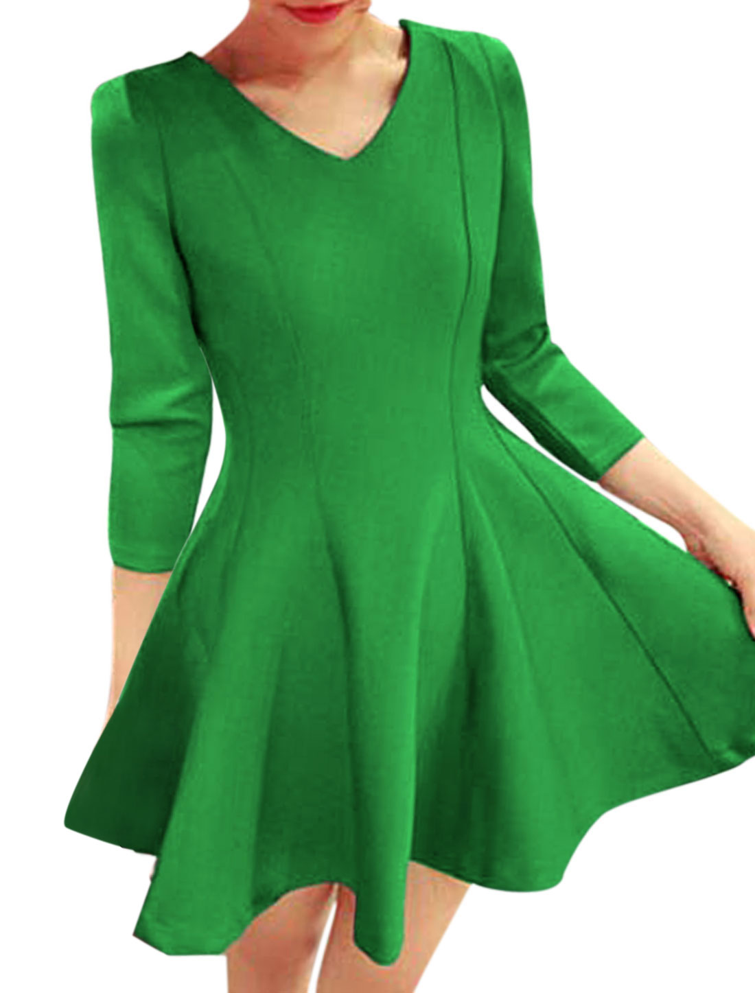 Women Round Neck Fit and Flare Leisure Skater Dress Green S