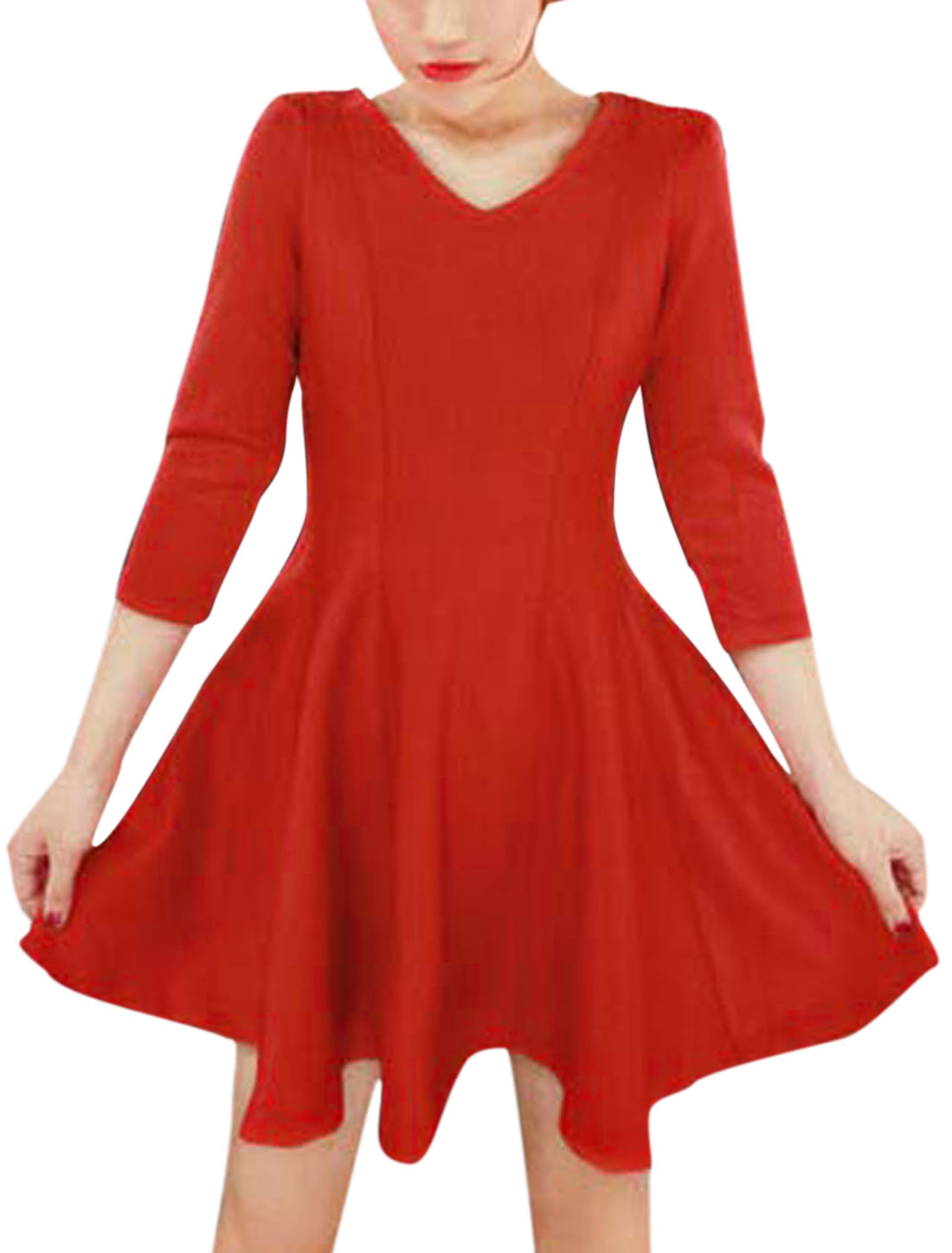 Ladies 3/4 Sleeves Round Neck Slipover Casual Dresses Red S
