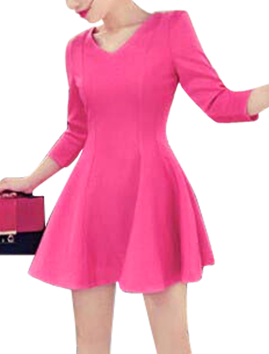 Women 3/4 Sleeves Fit and Flare Trendy Casual Dresses Fuchsia S
