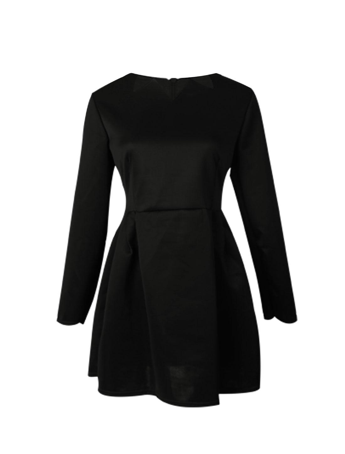 Women Scalloped Neckline Long Sleeve A-line Dress Black M