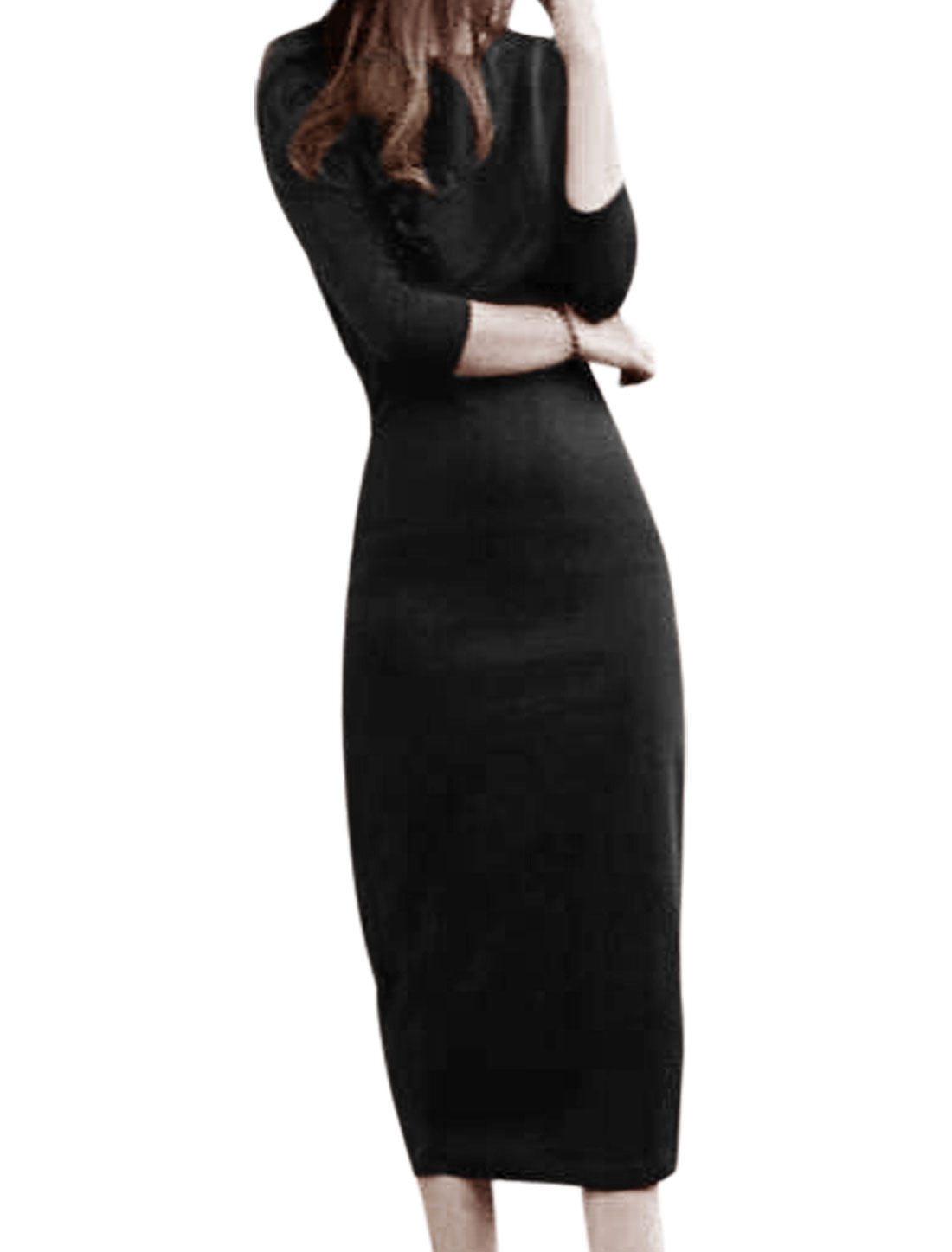 Women Split Back Design 3/4 Sleeves Sheath Dress Black XS