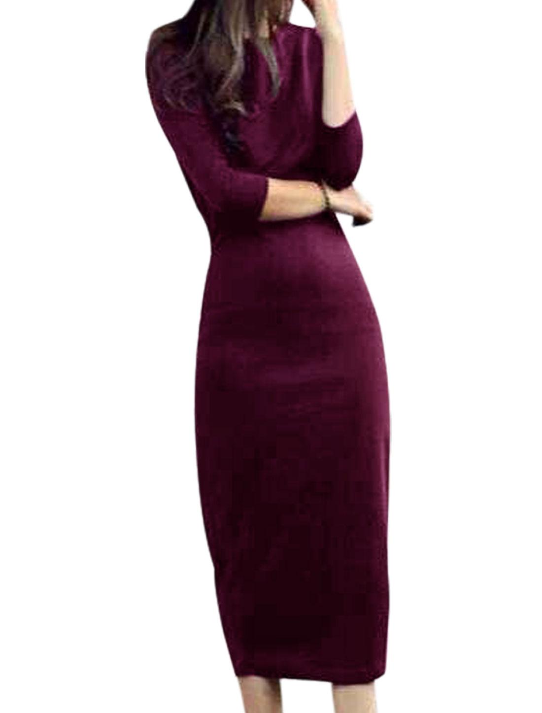 Split Back Slipover Closed Fit Dark Purple Sheath Dress for Ladies XS