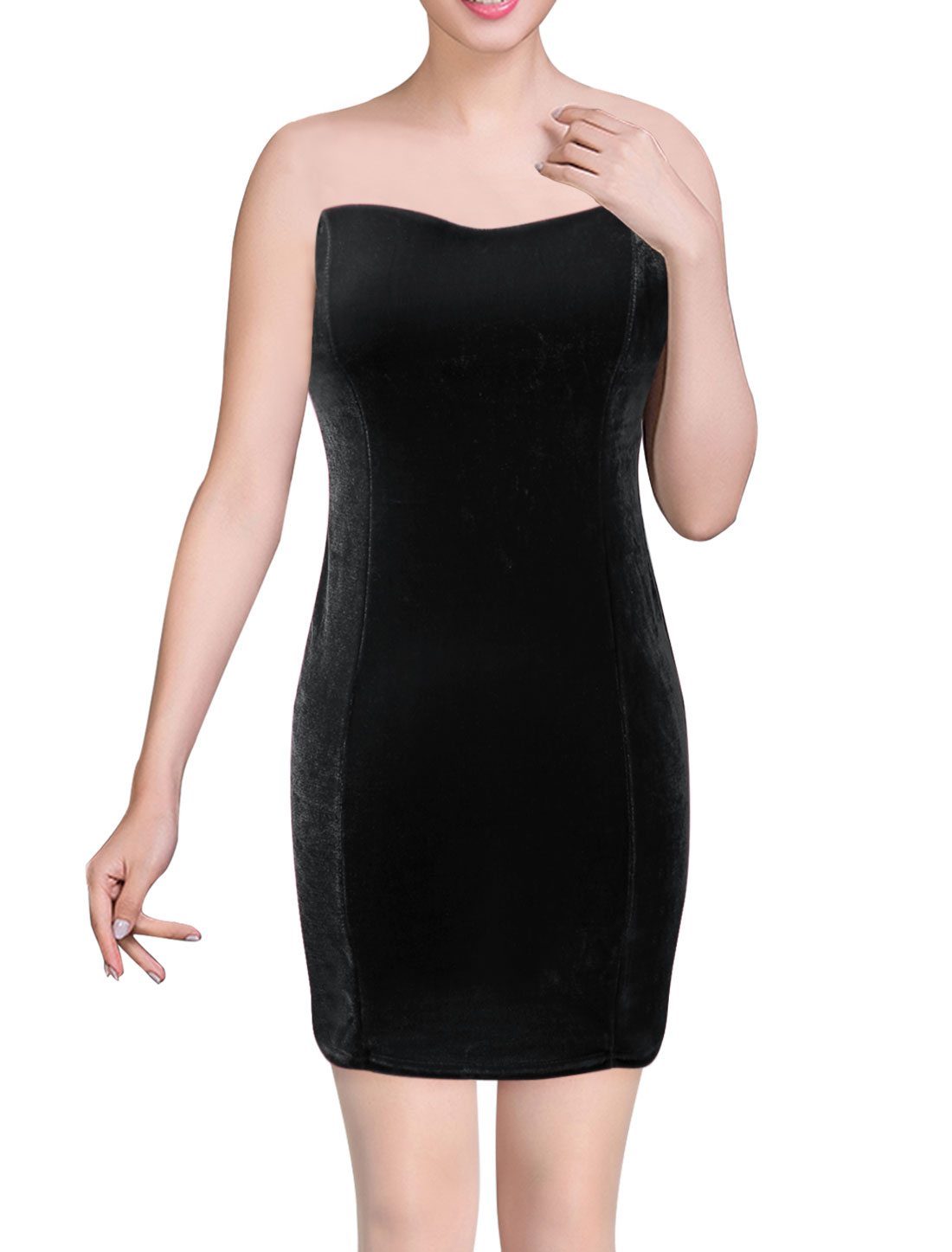 Women Sweetheart Neckline Sleeveless Sexy Sheath Dress Black XS
