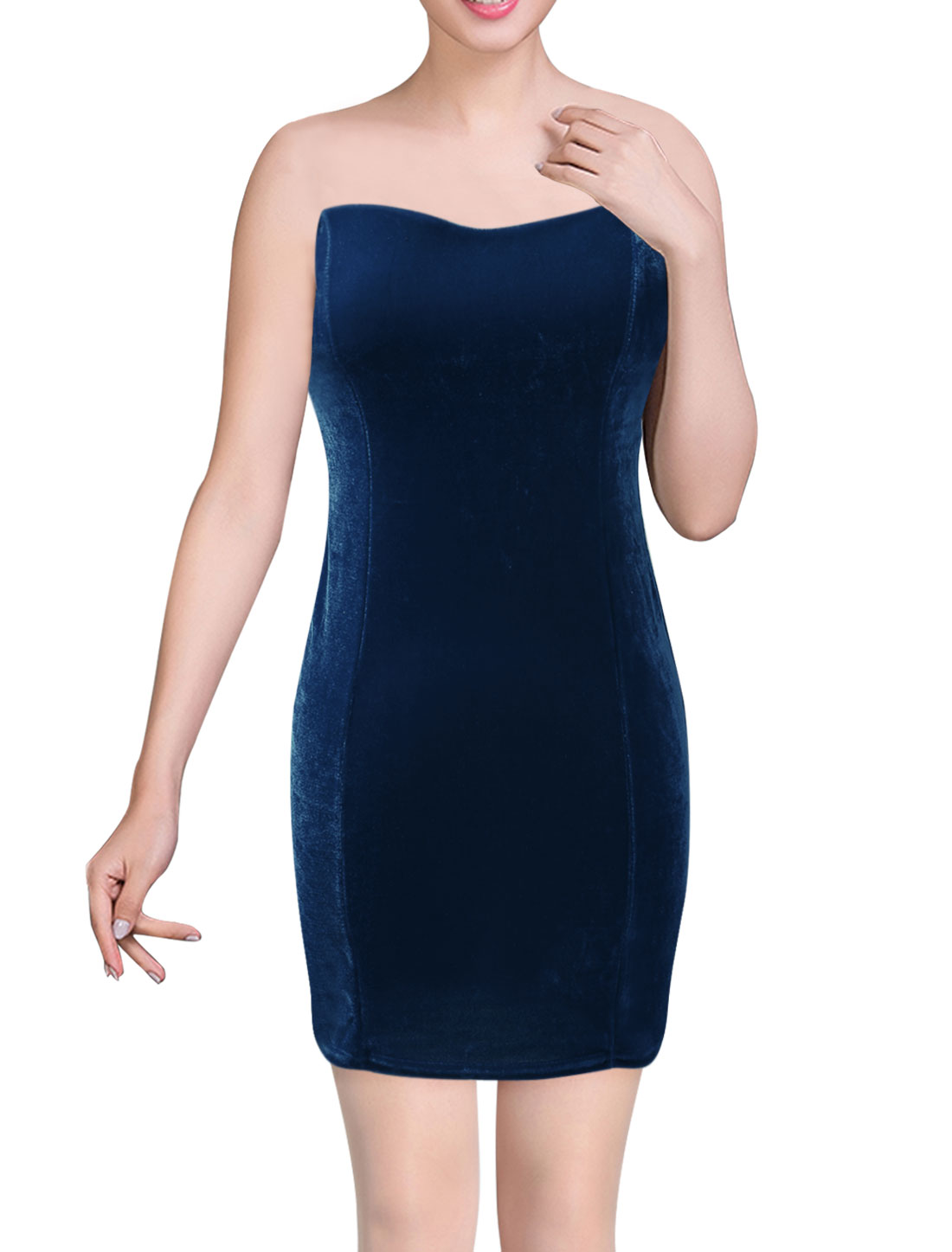 Women Sweetheart Neckline Sleeveless Evening Dresses Navy Blue XS