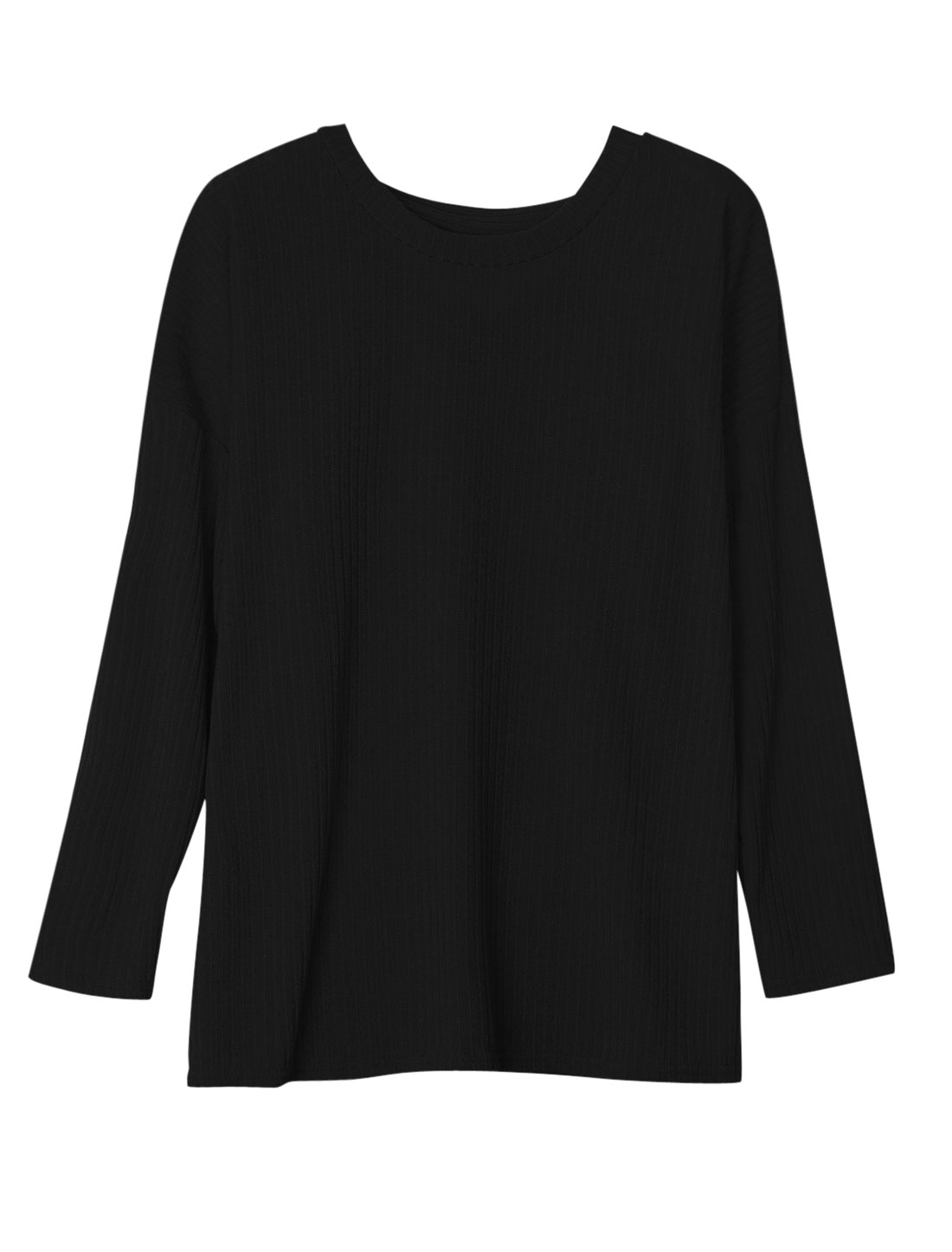 Women Round Neck Long Batwing Sleeves Tunic Knit Shirt Black S
