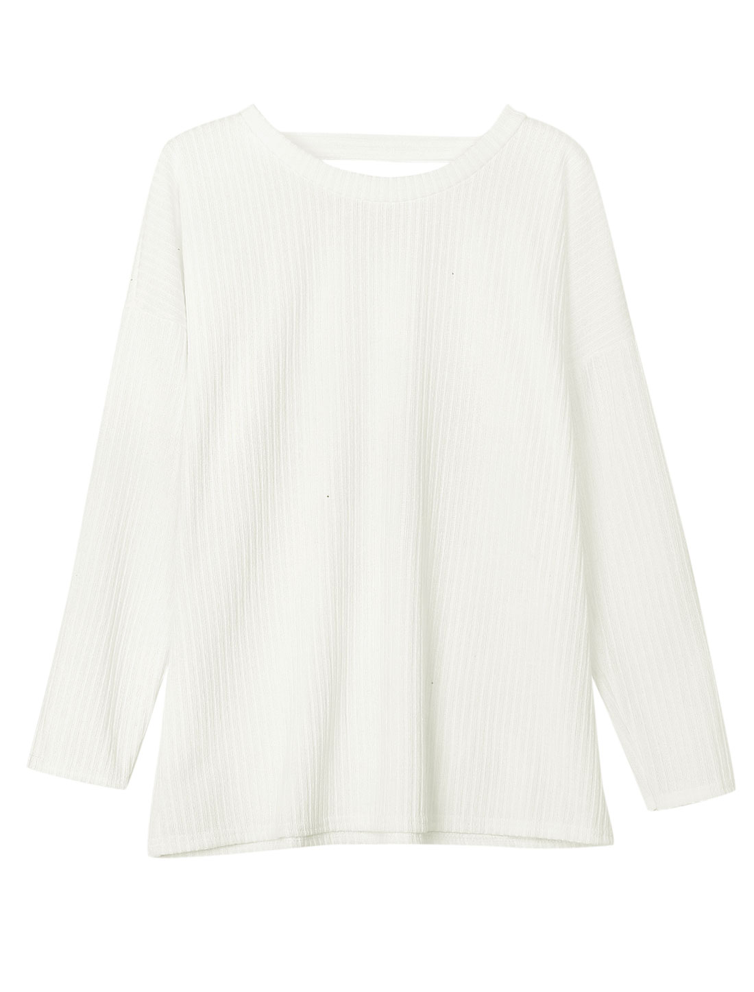 Ladies Dolman Sleeves Pullover White Tunic Knit Shirt S