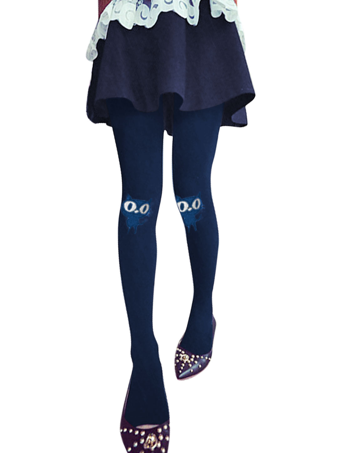 Cats Design Natural Waist NEW Leggings for Women Navy Blue XS