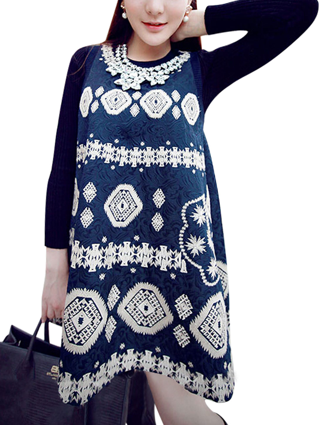 Round Neck Novelty Prints Casual Tunic Top for Women Navy Blue XS