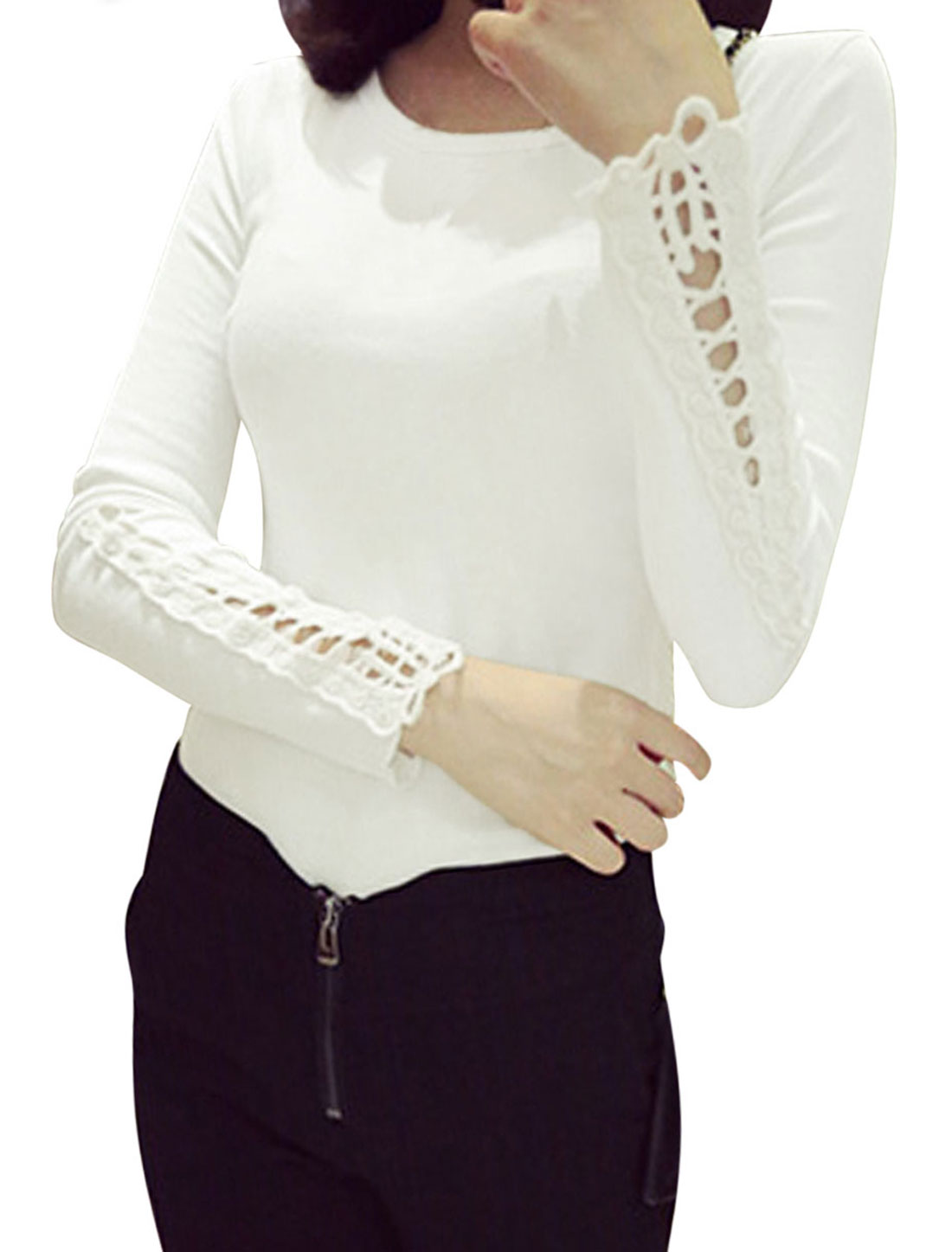 Woman Long Sleeves Panel Design White Casual Shirt S