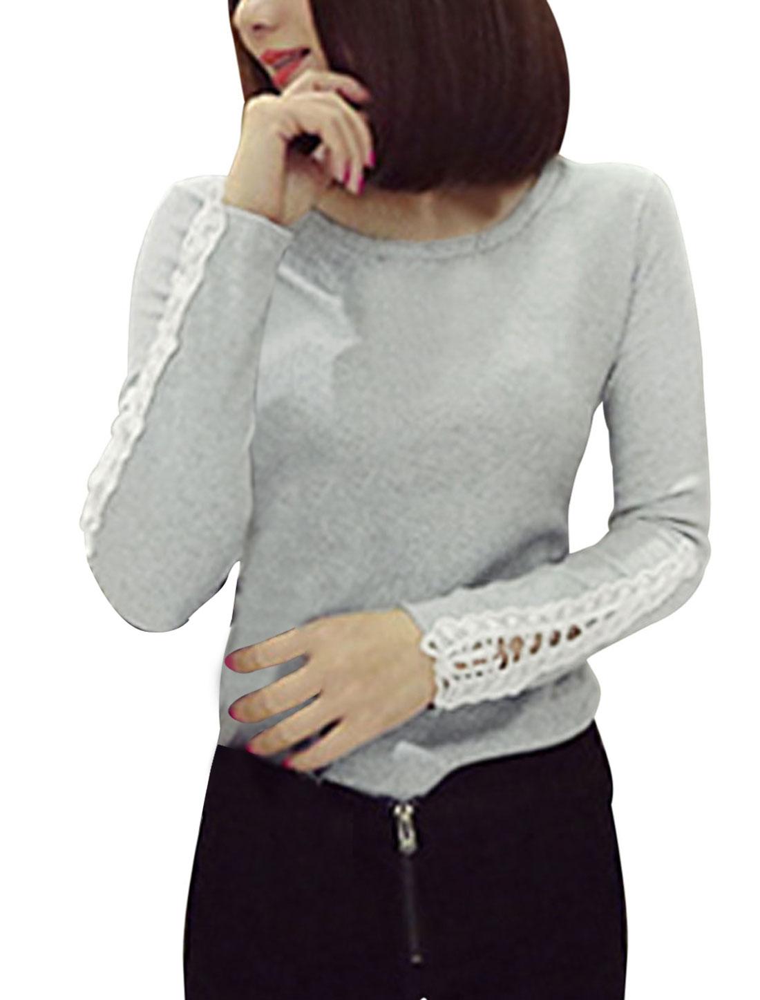 Crochet Panel Long Sleeves Light Gray Casual Shirt for Women S