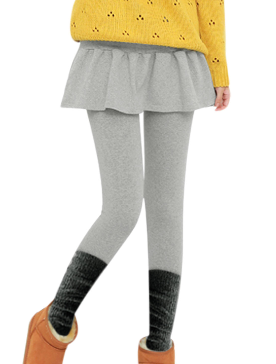 Contrast Color Stretchy Waist Light Gray Leggings for Ladies XS