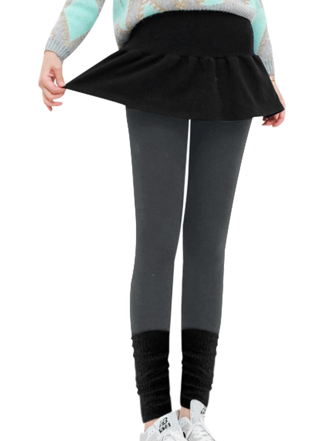 Knit Cuffs Panel Slim Cut Stretch Dark Gray Leggings for Lady XS