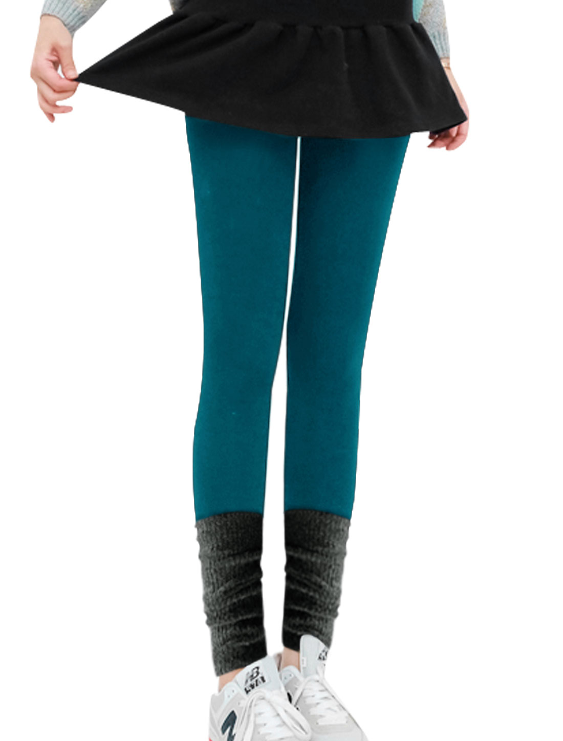Color Block Heap Heap Cuffs Spliced Peacock Blue Leggings for Woman XS