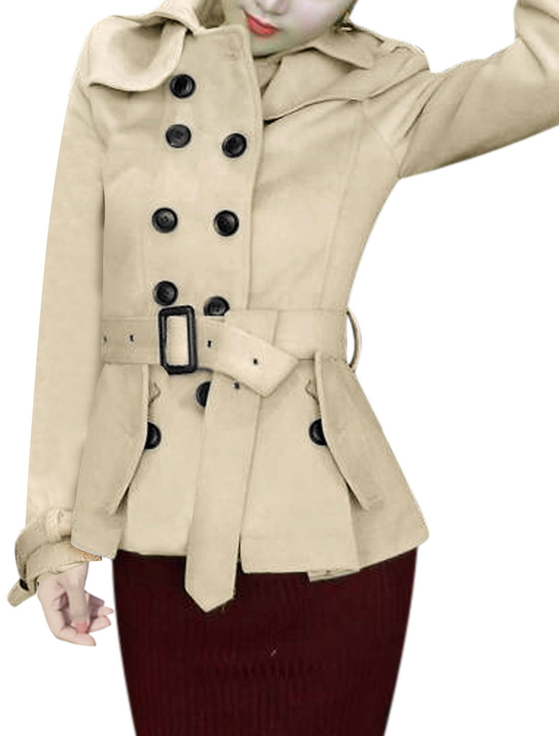 Women Turn Down Collar Button Up Peplum Worsted Coat w Belt Beige XS