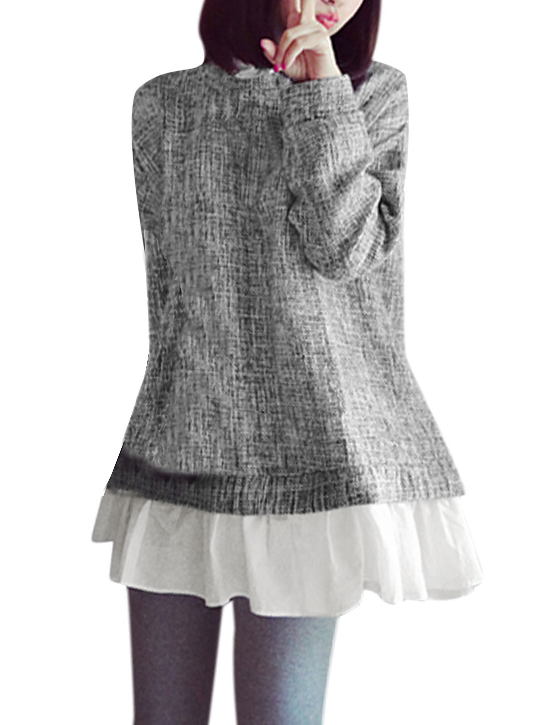 Women Ruffled Collar Panel Design Loose Tunic Top Gray S